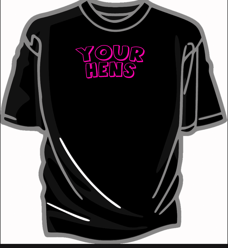 Printed hen t shirts includes full colour photo printing for Colour t shirt printing
