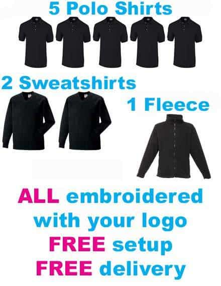 Printed workwear package 5 embroidered polo shirts, sweatshirts & fleece | The Printed T-Shirt Shop